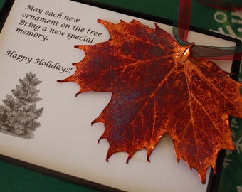 Copper Maple Leaf Ornament, Real Leaf Maple, Maple Leaf Extra Large, Ornament Gift, Christmas Card, ORNA61