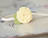 Tiny Felt Flower Headband . Sunny Smiles . Elastic Headband With Wool Blend Felt Flower In Cream