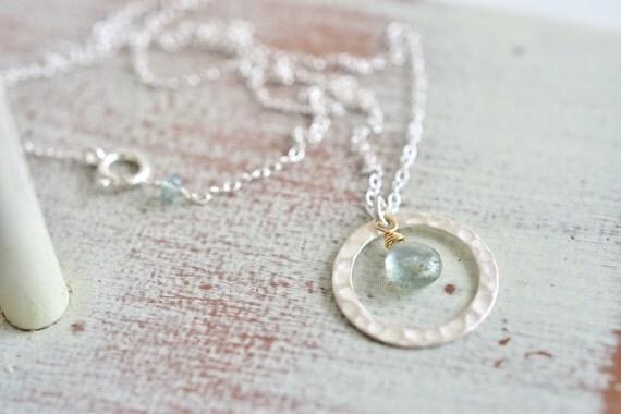 Minimalist Dreamy Moss Aquamarine Sterling Silver Loop Necklace