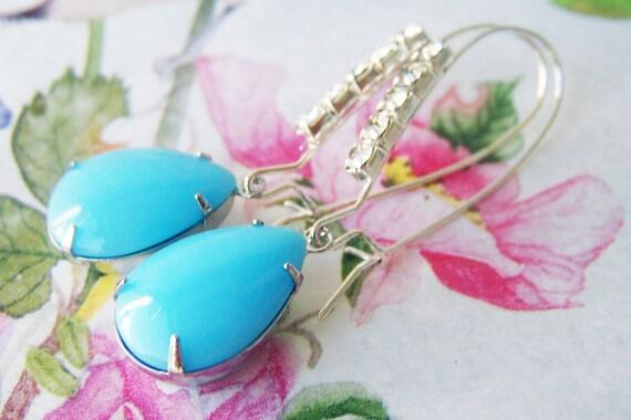 Calcedon Jewel Rhinestone Earrings, day evening wear, pretty everyday