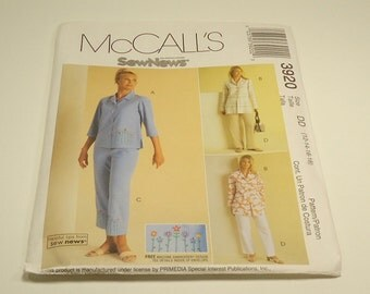 CLEARANCE McCalls Sew News Misses/Miss Petite Top And Pants Pattern 3920 Size 12 14 16 18