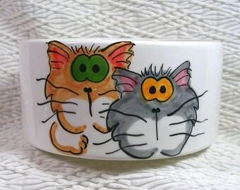 Goofy Cat Duo On Medium Cat Bowl With Paw Prints Inside 20 Oz. Ceramic