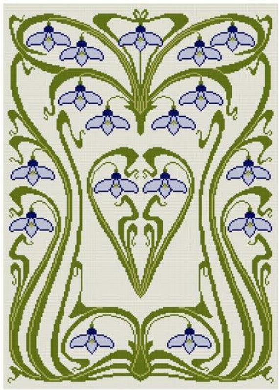 Patrón de la puntada Art Nouveau nieve caer Cruz PDF