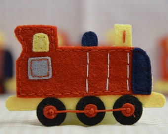Set of 4pcs handmade felt train--devil red (FT731)