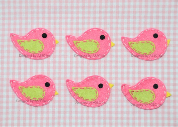 Set of 6pcs handmade felt bird--dark canation (FT869)