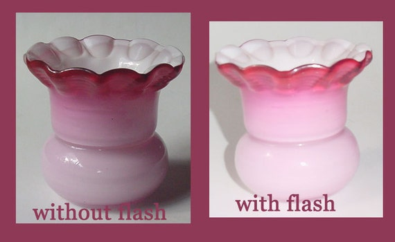 Lovely Peachblow Toothpick Holder - Crimped, Ruffled Top- Nice Colors