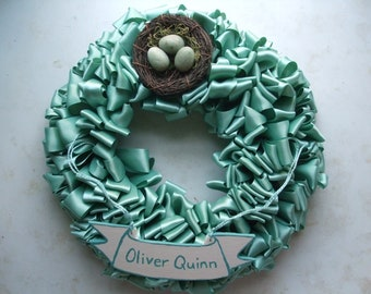 Wreath for Baby Robin's Egg Blue Ribbon Wreath Home 12 inch Babys Room Name Banner