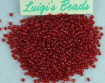 11/0 Round TOHO Glass Seed Beads #5C-Transparent Ruby 15g