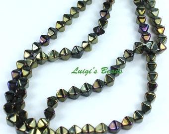 50 Iris Brown Czech Pressed Glass Bicone Beads 6mm