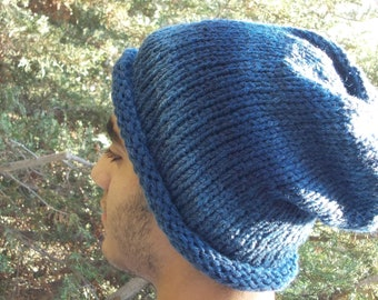 Slouch Hat for men denim blue warm slouchy beanie knitted cap in chunky bulky yarn, wool blend acrylic washable soft unisex women teen jeans
