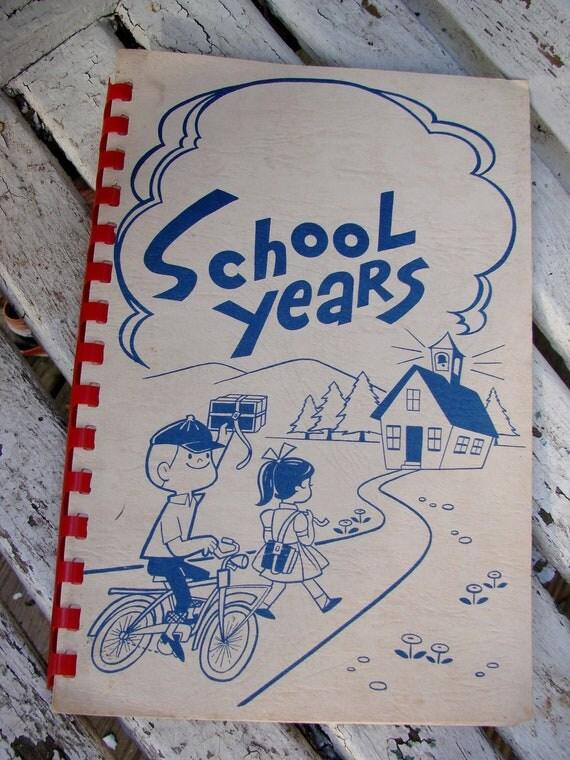 Vintage 1950s Erea School Years Scrapbook Photo Album for Pictures and More Kindergarten thru 12th Grade