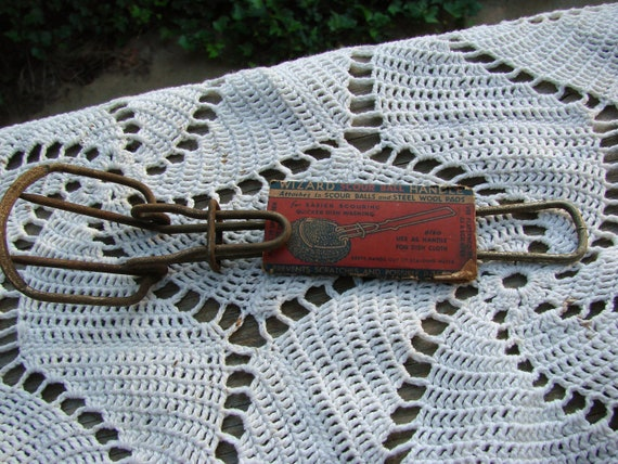 Vintage WIZARD Scour Ball Metal Handle also for Dish Clothes