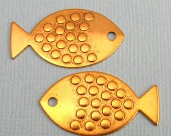 Fish Pendant, Antique Gold 2 Pc. K90