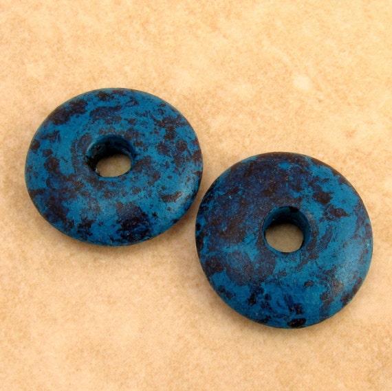 Greek ceramic donut disc pendant mykonos mm mottled by