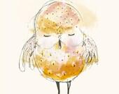 Children's Wall Art, Sleepy little OWL, Poster Print, 8x11