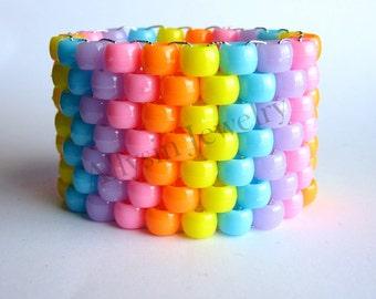 Kandi Cuff Bracelet - Raver Plur Jewelry - Pink, Light Blue - The Freshmaker