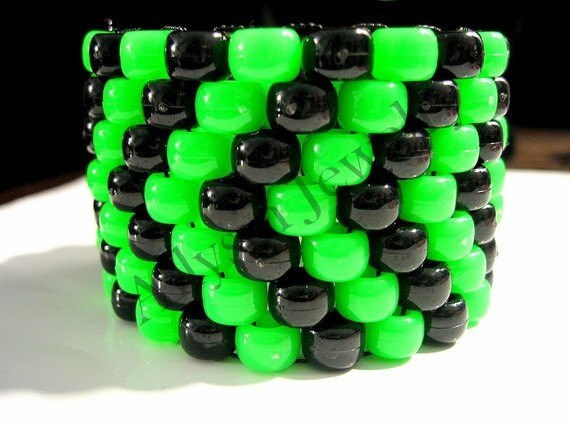 Green, Black Kandi Cuff Bracelet, Toxic Chevron Kandy, Rave Plur Jewelry
