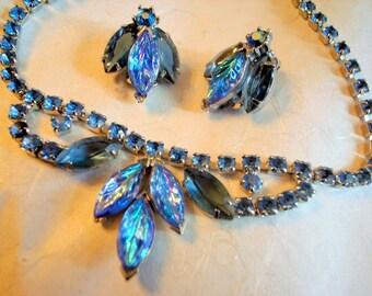 Vintage Blue Juliana Style Prong-Set Art Deco Wedding Rhinestone Bride Prom Necklace And Bug Earrings Set