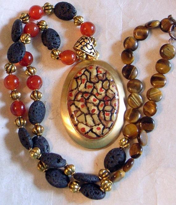 Autumn Elegance Necklace - BIG Enamel Pendant With Gemstones - Carnelian - Tiger-eye- Vintage Pendant - One of a Kind