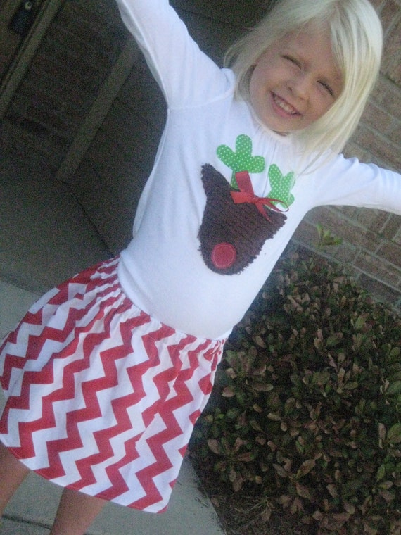 Girls Christmas Outfit.... Rudolph Shirt and Chevron Skirt
