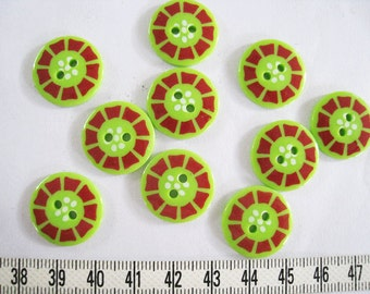 24 pcs of  Bright Green Graphic Button - 19mm