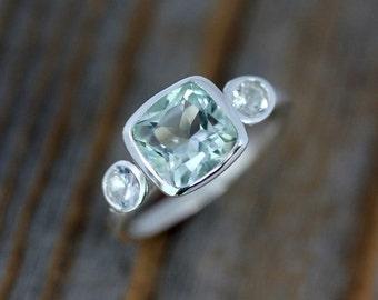 Sterling Silver Three Stone Ring, Prasiolite Ring, White Sapphire Ring, Green Amethyst, February Birthstone