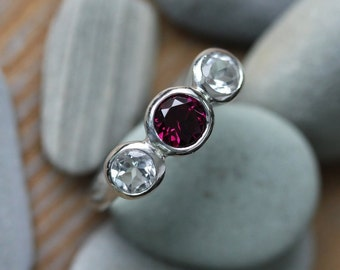 Size 5, Rhodolite Garnet and White Topaz Three Stone Ring in Recycled Sterling Silver