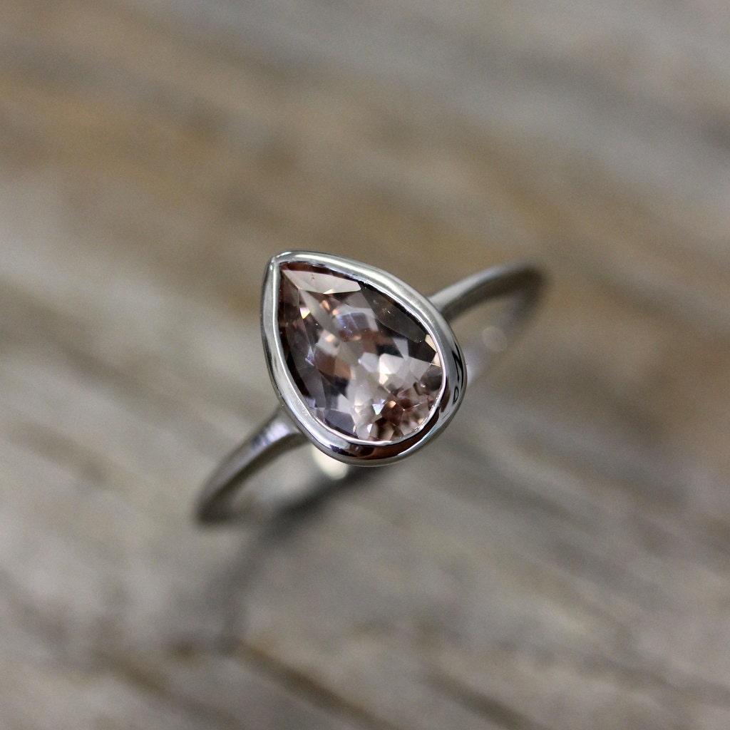 Pear Shaped Morganite Gemstone In 14k Palladium White Gold