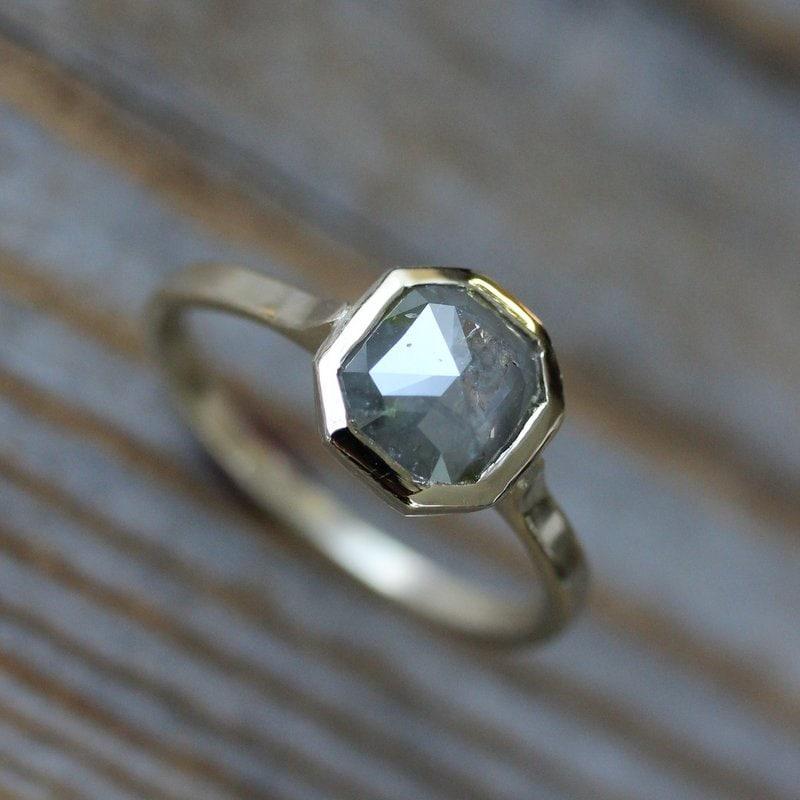 Rose Cut Grey Diamond Gold Engagement Ring Gray Diamond Ring