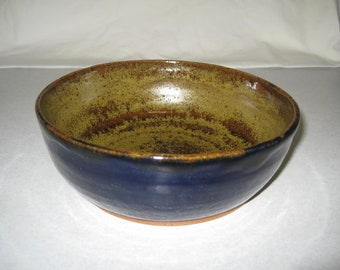 Salad / Soup / Cereal Bowl - Blue and Gold Stoneware - Free Shipping!