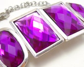 Chunky Purple Rhinestone Cuff - Large bright fuschia faux rhinestone bracelet with silver accents - Statement Jewelry Geometric Colorblock