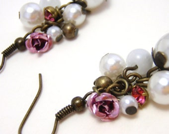 Pink Rose and Pearl Dangle Earrings - Clusters of faux pearls, pink metal rose, and pink rhinestone on antiqued gold chain - Shabby Chic