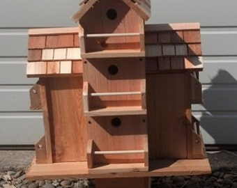 custom made cedar birdhouse with 10 separate compartments Free Shipping