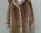 Vintage 1960's Lepoard Print Faux Fur Ladies Coat Warm, Sexy, Size 12 Womens retro 60's winter fashion design style unique