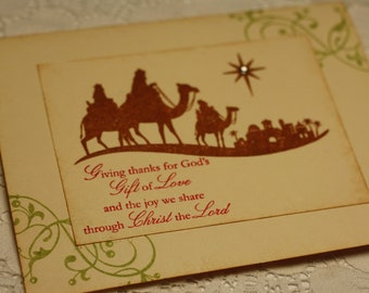 Handmade Christmas Card - Wise Men Still Seek Him - Stamped