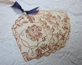Stamped Gift Tags - Wedding Favor Tag Beautiful Vintage Style Floral Images