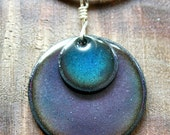 Blue and Purple Enamel on copper handmade necklace pendant with cord Prairie Collection