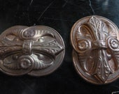 "Vintage Brass Stampings, 1950s Ornate Egyptian Revival Papyrus Design Oval Shield, Jewelry Finding, 35x25mm (approx. 1.4 x 1""), 2 pcs. (C23)"