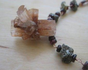 Insouciant Studios Stardust Necklace Aragonite Garnet Pyrite