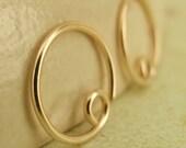 20 gauge Solid 14kt Gold Hoop Earrings - 10mm