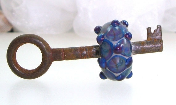 Handmade Lampwork Bead Skeleton Key Silver Glass Lapis Blue Violet Purple Amethyst Dots Lamp Work Antique Vintage -- Mainly a Mystery