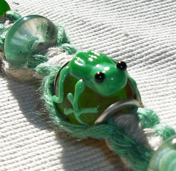 items similar to lwork frog bead bead and green