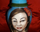 Custom memorial ceramic portrait cremation urn of your loved one, people or pet Large ashes