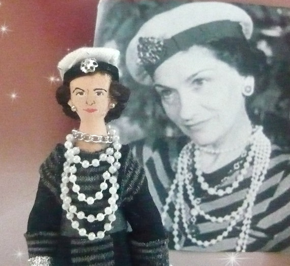 Coco Chanel Doll Miniature in Knit Dress and Hat
