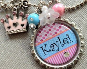 Children's Jewelry PERSONALIZED Princess Bottle Cap Necklace - Birthday Gift, Sister Gift, kitty charm, princess crown, Back To School