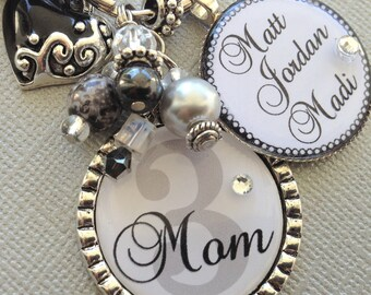 Personalized Jewelry, Mother's Necklace, Mother's Day Gift, Grandma necklace, Mimi, Grammi, Purse Clip, Gigi, initial jewelry charm necklace