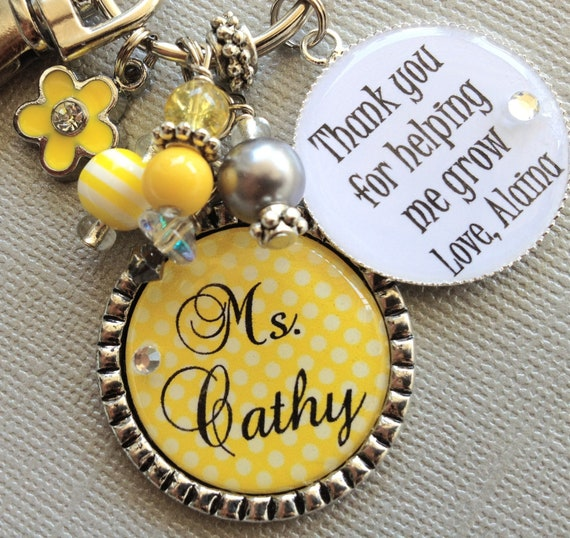 PERSONALIZED Teacher Gift CHARM Thank you for helping me grow end of year gift inspirational quote, daycare, babysitter, apple charm, flower