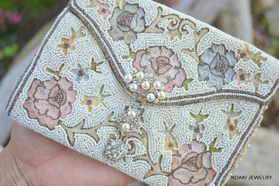 Art Deco era spring flower dancing purse -- ready to ship clutch