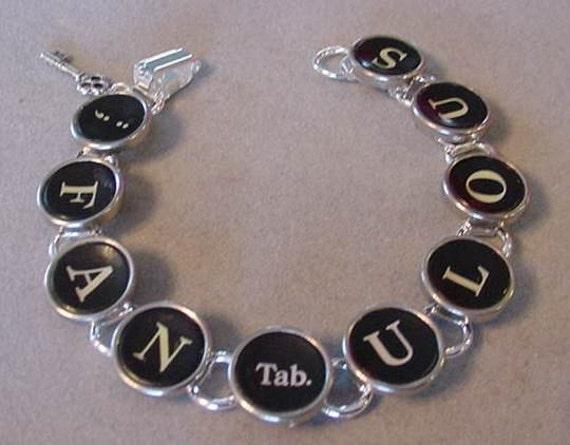 Typewriter Key Jewelry Bracelet  FANTABULOUS - Vintage Typewriter key Bracelet