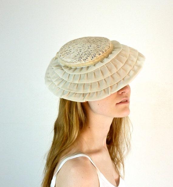 1950s Tilt Hat - 50s Hat - Bridal Headpiece